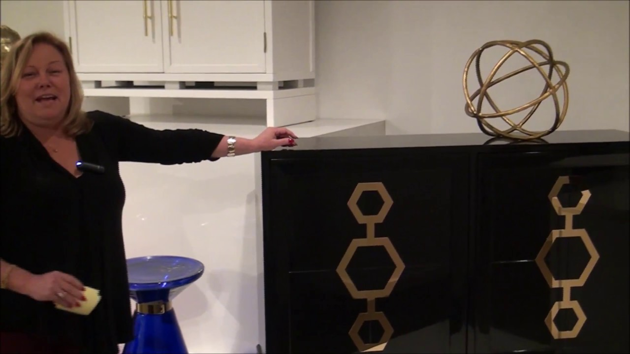 Gotham Wine Cabinet In Black And Gold By Pulaski Furniture