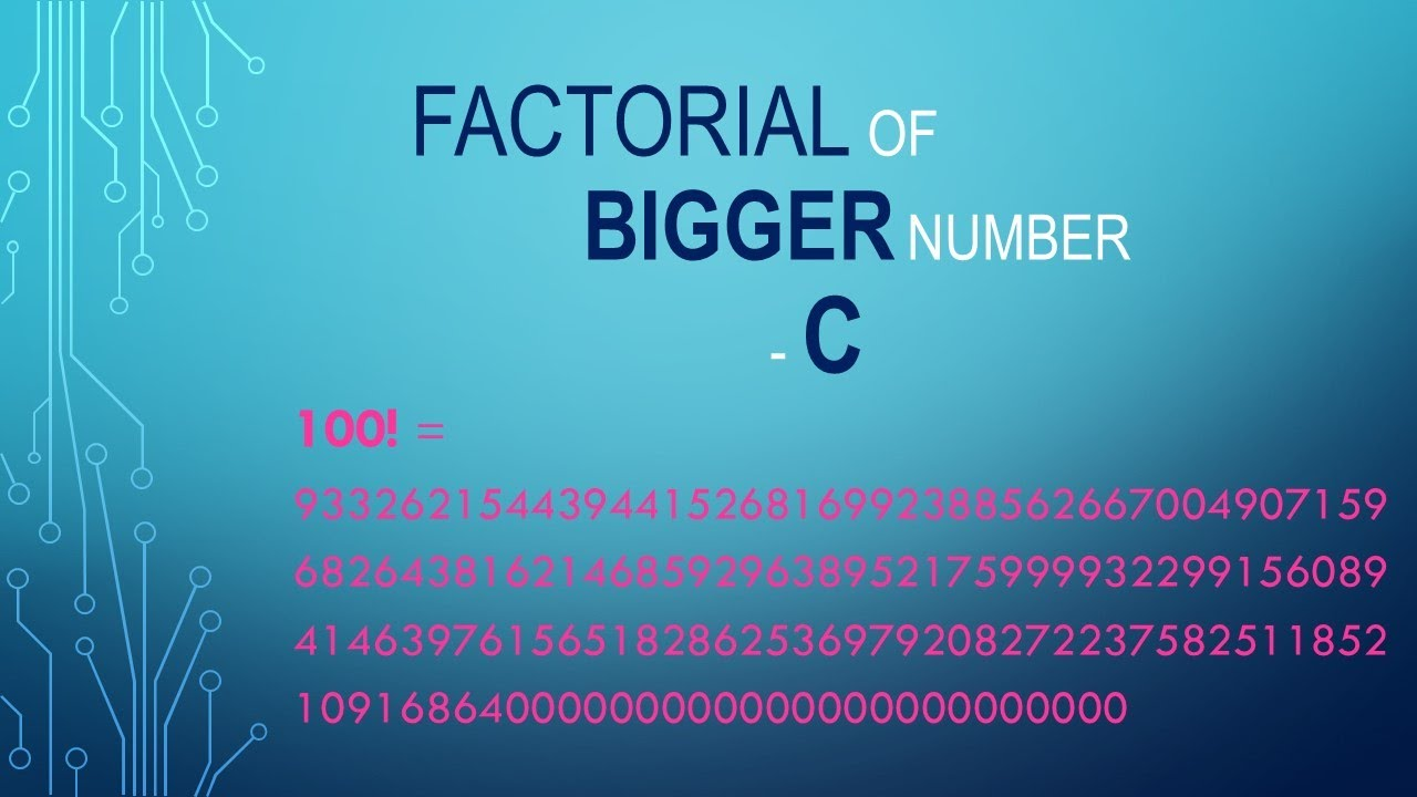 C program to Calculate Factorial of a larger number