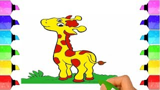 Learn Colors for Kids Drawing and Coloring Baby Giraffe | Drawing Extra