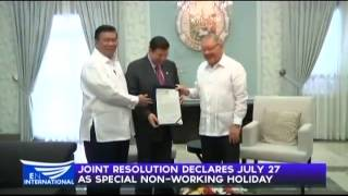 Joint Resolution declares July 27 as special non-working holiday