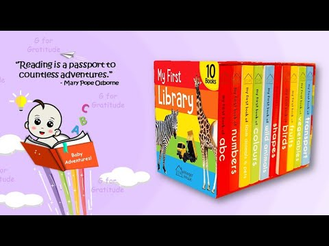 My first mini learning library boxset of 10 board books | Silent flip through