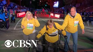 Paralyzed veteran completes NYC marathon in robotic exoskeleton