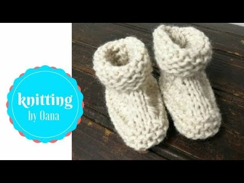 Knitting Easy Baby Booties By Oana Youtube