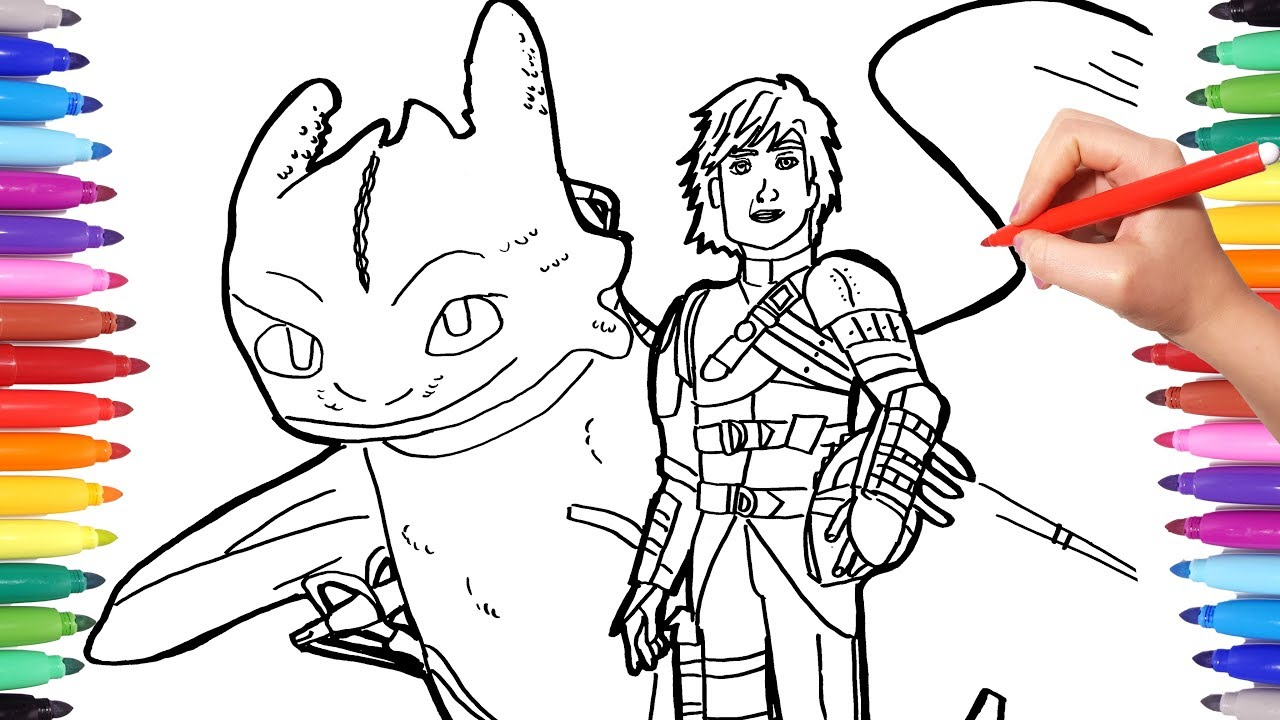Dragon trainer 3 coloring pages watch how to draw hiccup toothless how to train your dragon