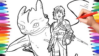 Dragon Trainer 3 Coloring Pages | Watch How to Draw Hiccup Toothless | How to Train your Dragon