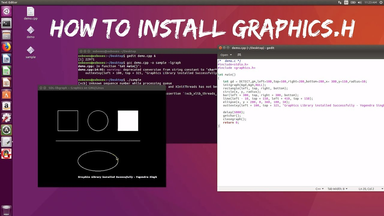 How to install and run graphics.h library programs in ubuntu