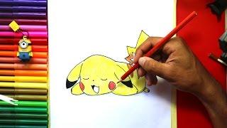 Cómo dibujar pikachu que se establecen | How to Draw Pikachu Laying Down (Pokemon)