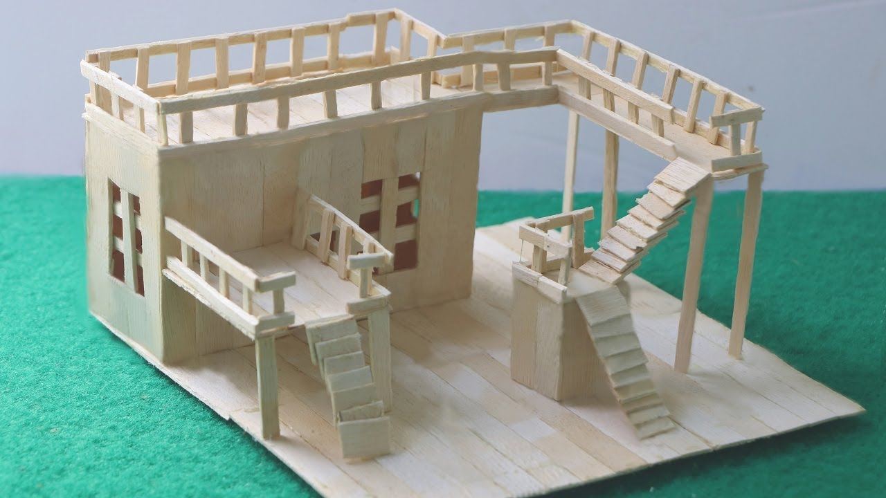 Building popsicle modern house popsicle stick mansion for Construction of house step by step