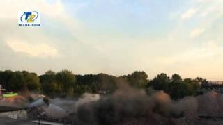 Wyburzanie kominów w Trzebini