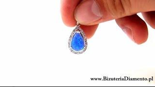 Srebrny wisiorek z niebieskim opalem - Biżuteria srebrna Diamento