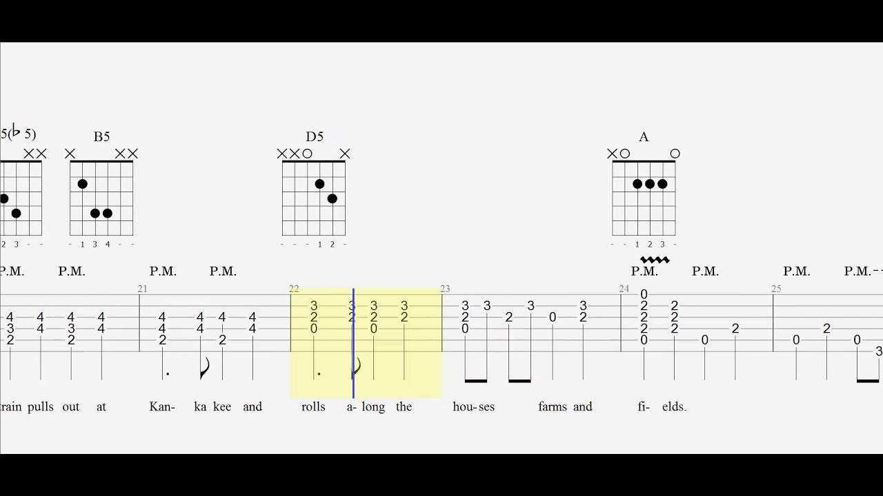 Guitar Tab City Of New Orleans Arlo Guthrie Chords Youtube