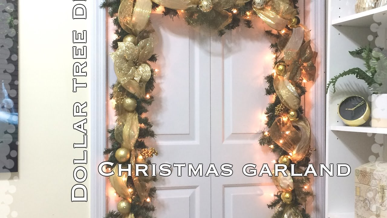 Diy Dollar Tree Christmas Garland Vd 8 Youtube