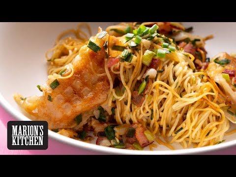 Bacon-Fried Dumpling Noodles - Marion's Kitchen