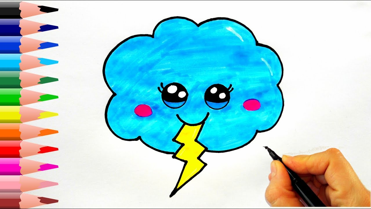 Simsek Bulutu Nasil Cizilir How To Draw A Lightning Cloud Youtube