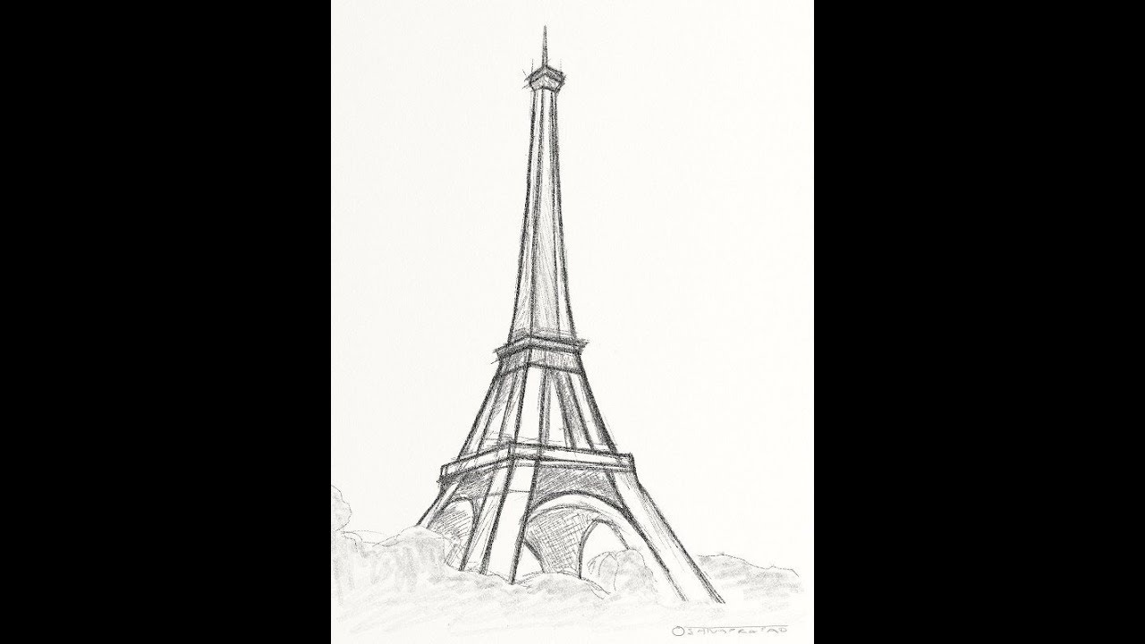 How to Draw very easy paris tawer pencil drawings for ...
