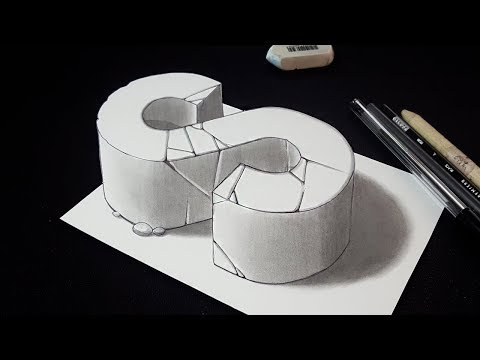 How to Draw 3D Letter S - 3D Drawing - Easy Trick Art
