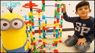 Playing with Marble Run Toys for Children, Kids Surprise for Jason