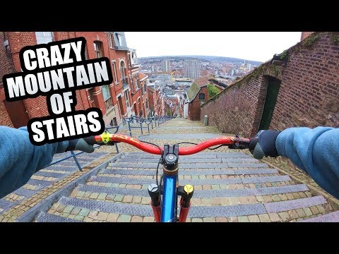 URBAN MTB FREERIDE DOWN A CRAZY MOUNTAIN OF STAIRS! להורדה