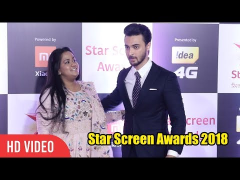 Arpita Khan with Aayush Sharma at Star Screen Awards 2018