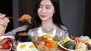 차돌비빔밥 차돌된장찌개 집밥 리얼사운드먹방/BIBIMBAP SOYBEAN PASTE SOUP KOREAN HOMEMADE FOOD Mukbang Eating Show 拌饭 ビビンバ