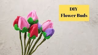 Easy  Rose Bud Technique | Flower Bud Tutorial | How to make Foam Paper Flowers | Aloha Crafts