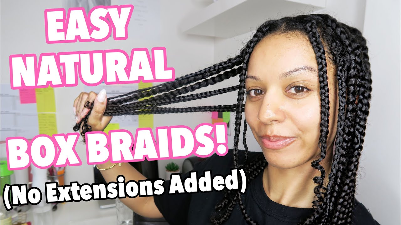 Easy Natural Curly Hair Box Braids Protective Style No Added Hair Youtube