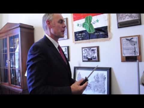 Rep. Ryan Zinke shows off his knife collection