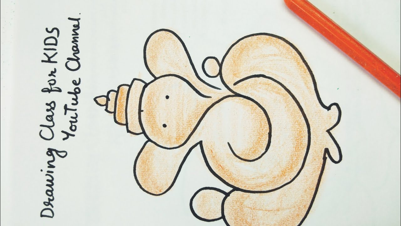 Youtube Beautiful Very Easy Ganpati Drawing With Coloring