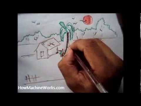 How To Draw Scenery - 3 Minutes