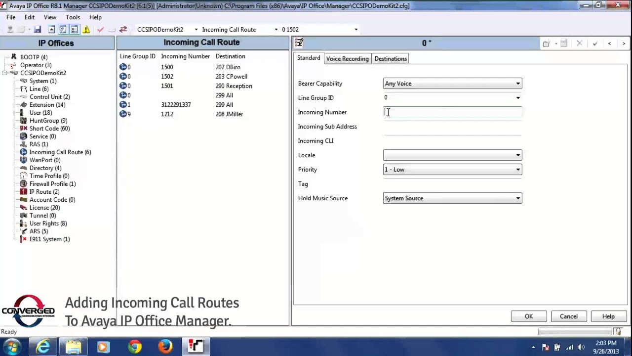 How to Add Incoming Call Routes via Avaya IP Office Manager Tool