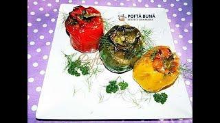 Ardei umpluti cu ciuperci si orez (reteta de post, reteta traditionala moldoveneasca)