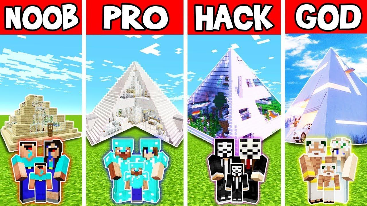 Minecraft Family Modern Pyramid House Build Challenge Noob Vs Pro Vs Hacker Vs God In Minecraft Youtube