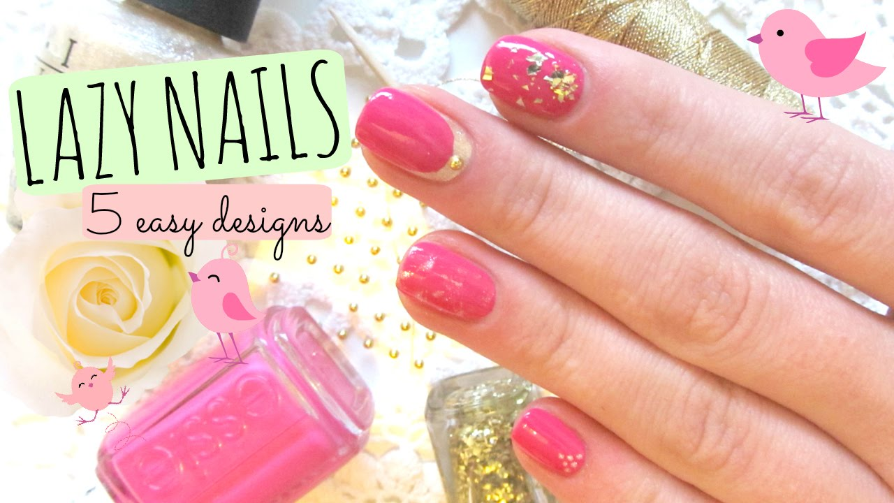 LAZY * nail art tutorial: 5 easy ideas with pink & gold - YouTube