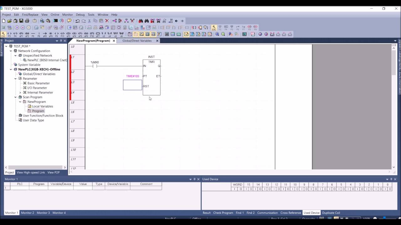 Creating a new XG5000 program with timer and counter functions