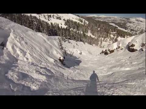 EPIC POWDER RUN OFF THE WALL AT KIRKWOOD MOUNTAIN