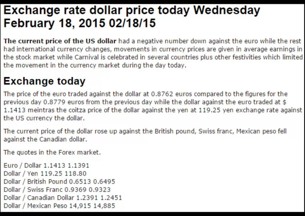 Dollar Prices Euro British Pound Exchange Rates Today February Wednesday 18 2017 02 15
