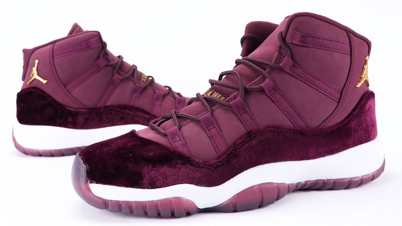 ... coupon code for air jordan 11 heiress red velvet night maroon review on  feet youtube 28cef e84480205