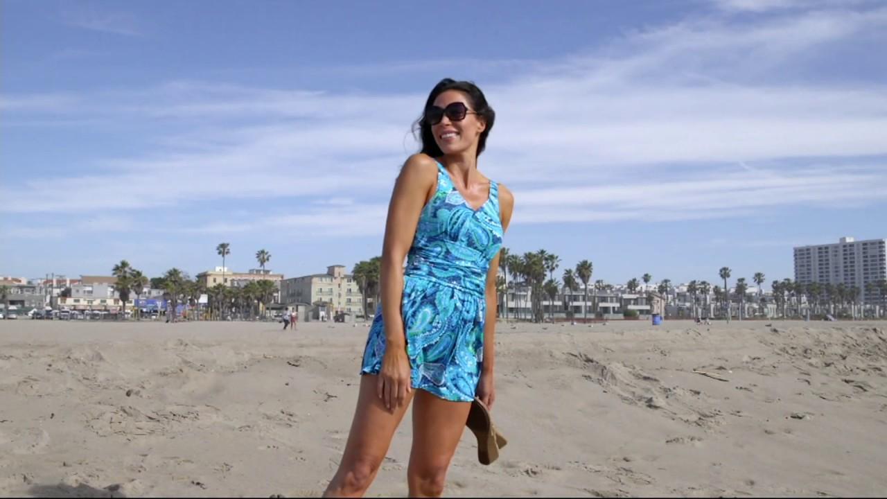 884af6ff42 Denim   Co. Beach Ruched Flounce Swim Dress on QVC - YouTube