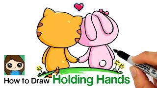 How to Draw Friends Holding Hands Cartoon