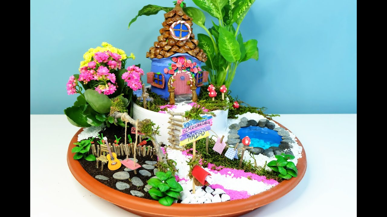 How to make a Fairies Garden cute miniature DIY fairy house with