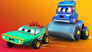 ГРУЗОВИК КАТОК гоняется за КРОКОДИЛОМ на ХЭЛЛОУИН Автомобильный город Детские мультфильмы
