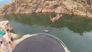 Repeat youtube video Arizona Trampoline Cliff Jumping (GoPro + DJI Phantom 2 Drone)