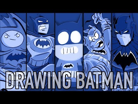 Drawing BATMAN in 5 DIFFERENT STYLES (OddParents, Anime, Adventure Time, The Simpsons, South Park)
