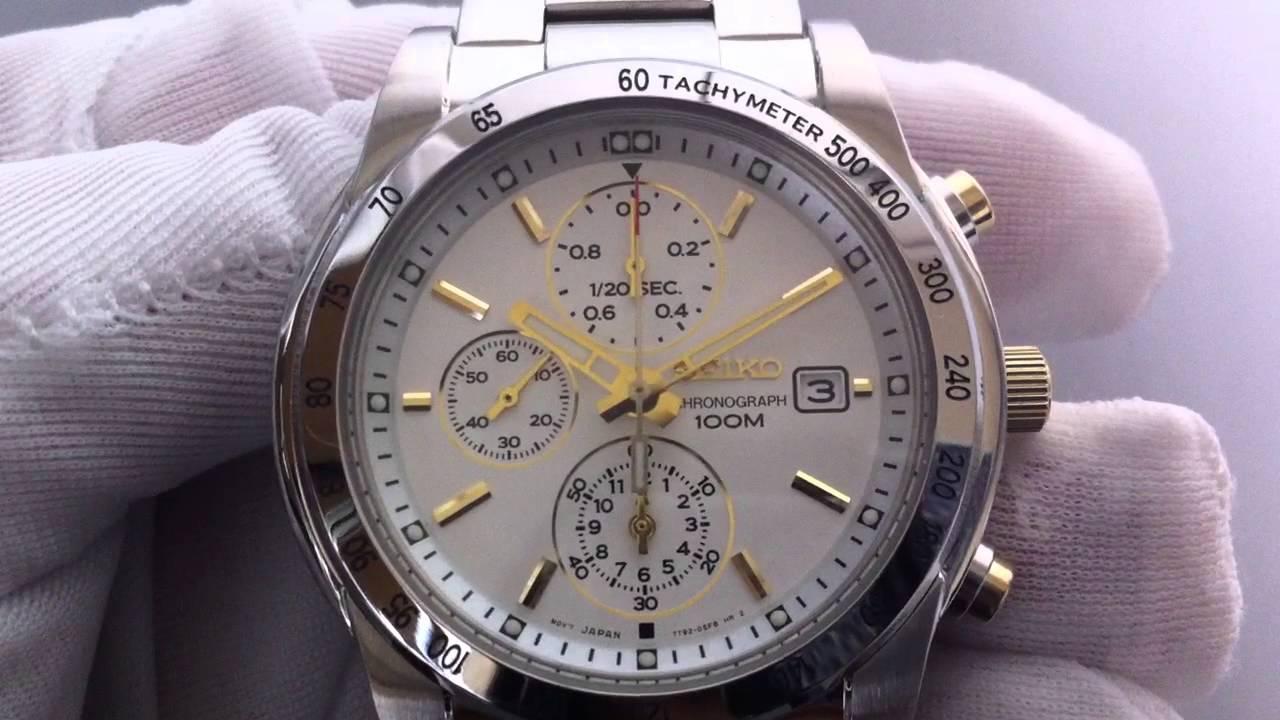 Men s Seiko Chronograph Two Tone Watch SNDD07 - YouTube 14d527c52b4c
