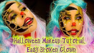 HALLOWEEN MAKEUP TUTORIAL EASY | BROKEN CLOWN | 2019