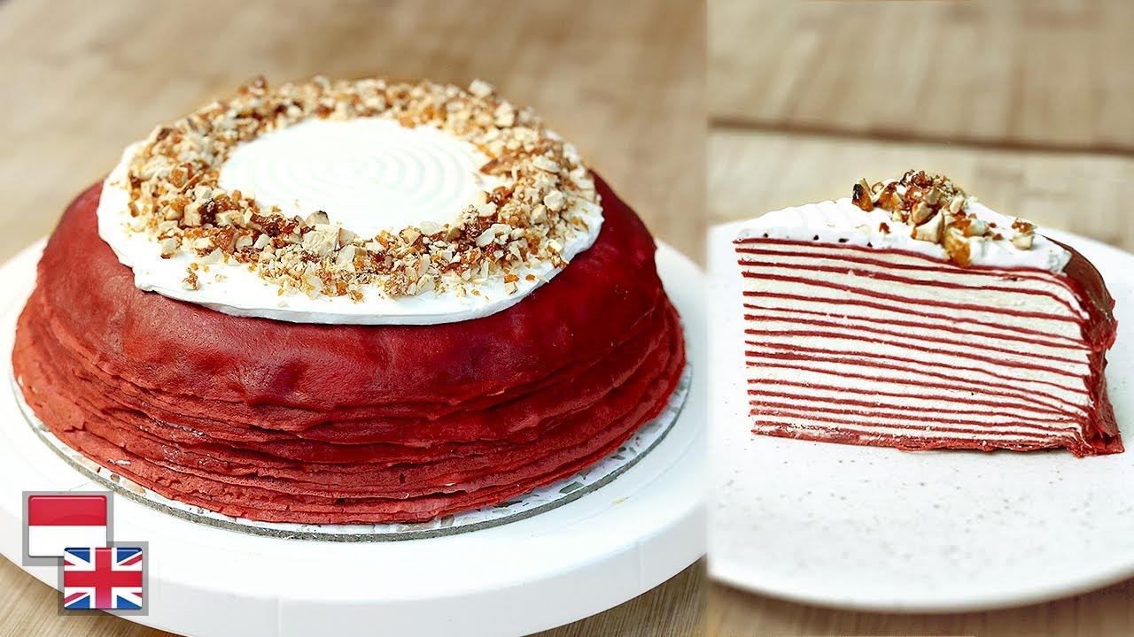 TANPA Oven! Resep MILLE CREPE CAKE RASA RED VELVET: Lembutnya Berlapis!