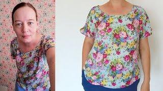 Как сшить блузу - футболку с цельнокроеным рукавом по готовой выкройке быстро и просто