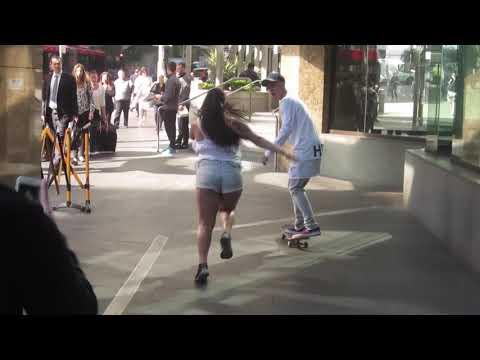 Justin Bieber skating in sydney
