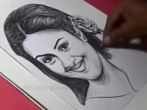 How To Draw Tamil Film Actress Jyothika Drawing Youtube
