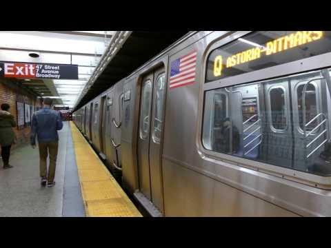 BMT Broadway Line: R160B Siemens Q Trains at 49th St-7th Ave (4K) (Queens Bound)
